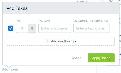 Example of tax fields to fill out for expense.