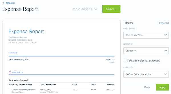 Filters on the expense report.