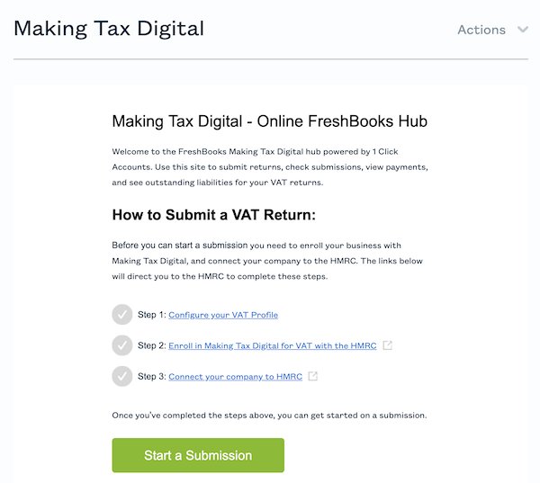 Making tax digital hub with steps to complete inside account.