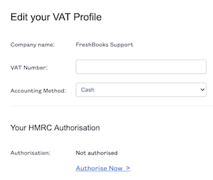 Edit vat profile screen with fields to fill out.