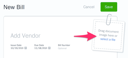 Select a file link on Bill.