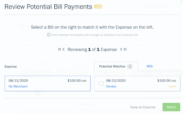 Review bill payments screen with options to match or keep as expense.