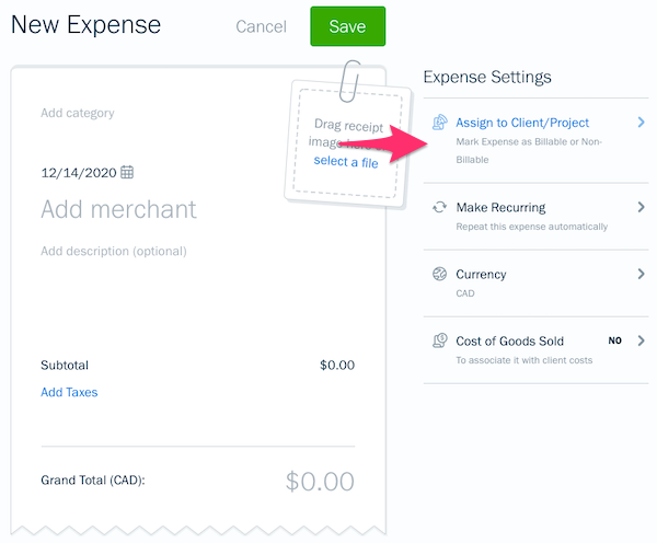 Assign to Client or Project option on expense creation screen.