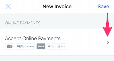 Accept online payments button at top of invoice.