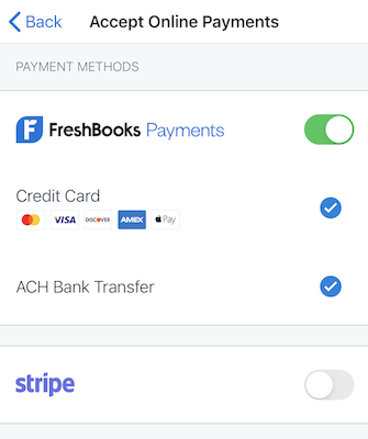 WePay enabled with checkboxes next to credit cards and ACH bank transfer enabled.