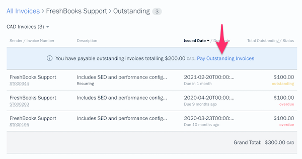 Pay outstanding invoices link above list of invoices.