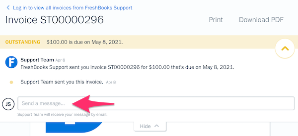 History of invoice with field to add a comment to.